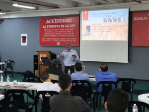 """Dennis Ryman presenting  """"HazCom/SDS""""  at a recent seminar."""